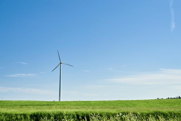 Ветряк в поле. концепция энергии ветра. возобновляемая энергия для защиты климата