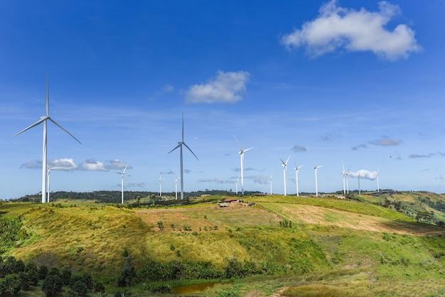 Wind turbine landscape natural energy green eco power concept at wind turbines farm