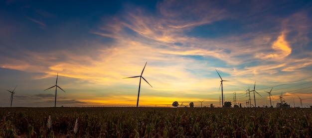 日没の風力タービンサイト