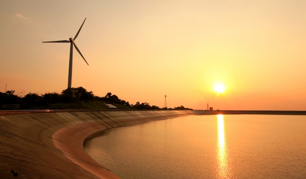 Wind turbine in sunset