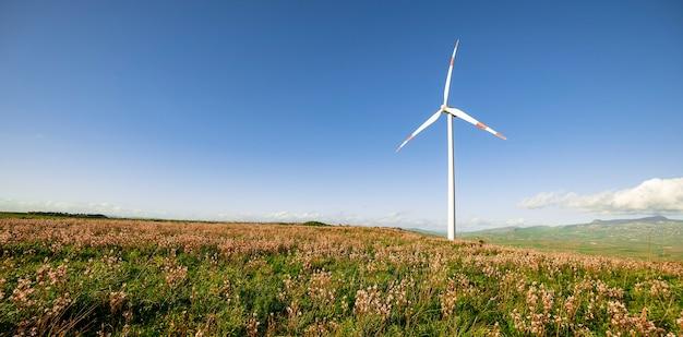 シチリア島の風力タービン風車青空再生可能エネルギーの概念