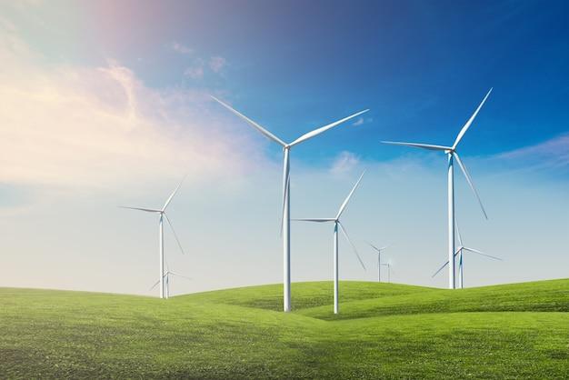 푸른 하늘과 풍력 터빈