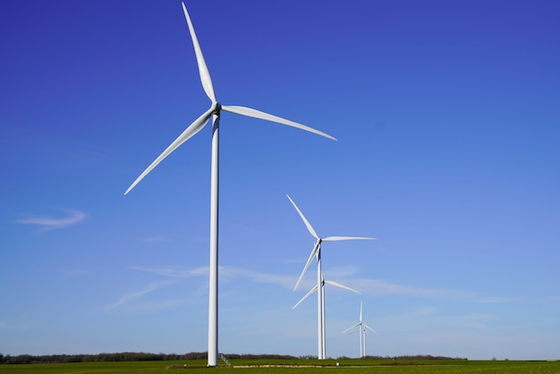 Wind turbines and agricultural fields on summer day blue sky
