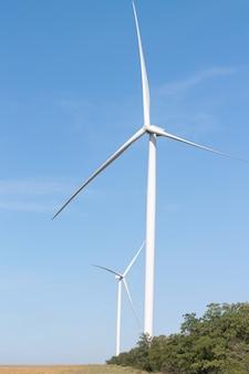 風力タービン-代替のエコエネルギー源。夏のウィンドファームの風景
