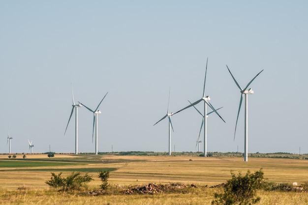 Wind turbines in an arid landscape