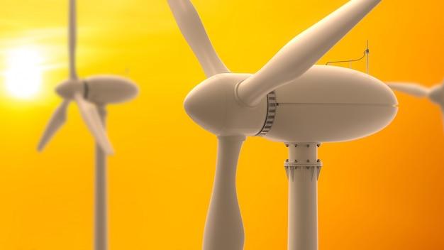Wind turbines energy production .