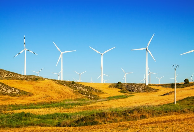 Wind turbines at farmland