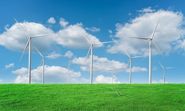 푸른 하늘 배경에 풍력 터빈 필드입니다. 풍차, 에코 파워. 녹색 에너지 기술 개념