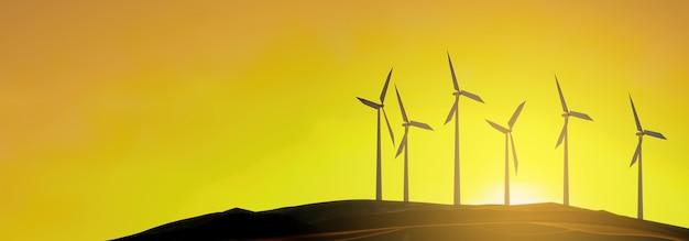 風力タービンは日没時に発電します-3dレンダリング