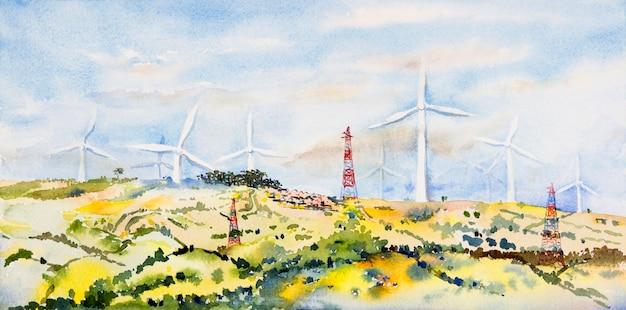 산에 풍력 터빈 녹색 에너지. 수채화 원래 풍경 그림 에너지 절약 개념 아름다움 푸른 하늘과 흐린 배경 풍력 터빈 건설에서 파노라마보기.