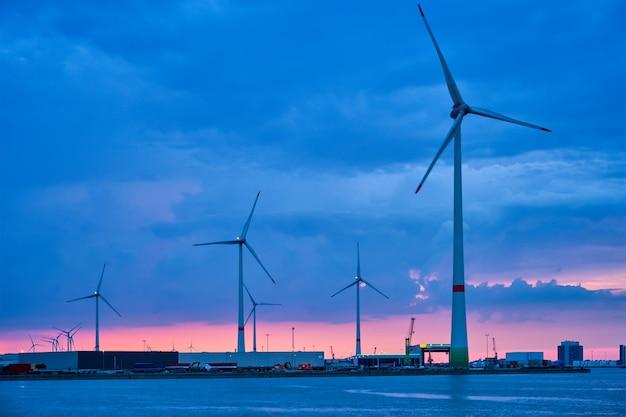 夕方のアントワープ港の風力タービン