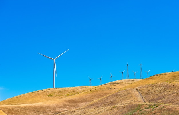 Wind turbines on the mountain, alternative green energy in th future.