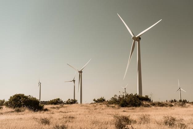 Wind turbines in rural setting