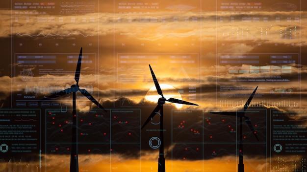 空の背景に風力タービンのシルエット