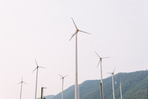 Wind turbines and solar cell electricity in power station.save environment