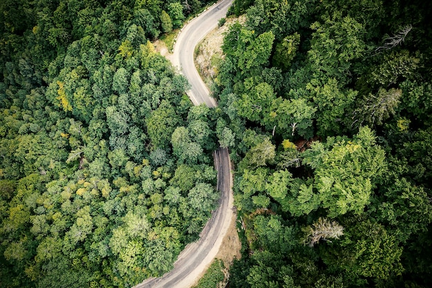 Winding mountain road, view from above.