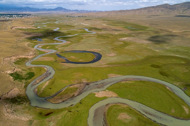 Winding river in the valley, bird's eye view