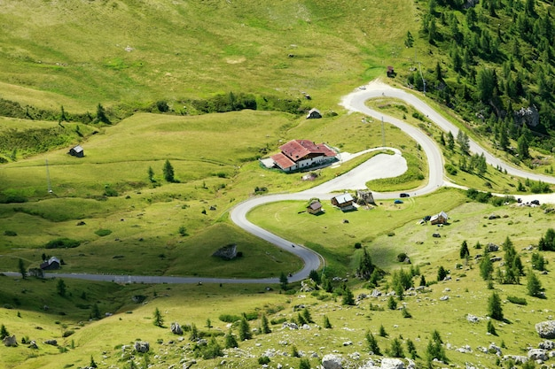 Winding road and house