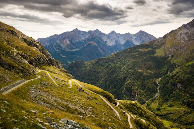 Winding road to mountain pass