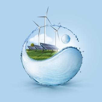 음양의 들판에 있는 풍차와 태양 전지판은 푸른 하늘 배경에 물이 튀는 모양입니다. 청정 세계의 생태 개념은 지속 가능한 녹색 에너지만 사용했습니다.