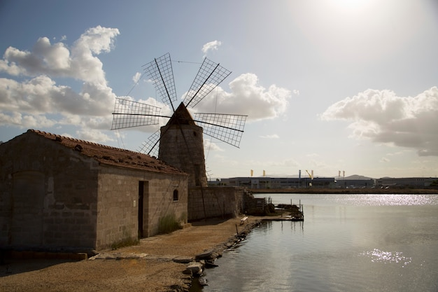 Windmill in the town of trapani in sicily