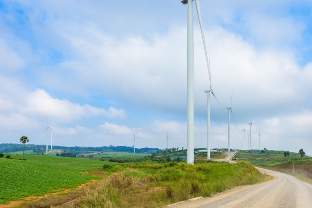 Windmill turbine for electric production at khao kho, petchaboon, thailand