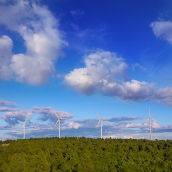 Windmills green electric energy in pine mountain blue sky