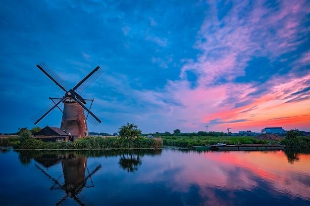 Windmills at kinderdijk in holland netherlands