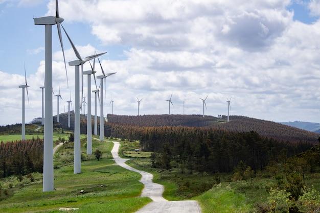 지속 가능하고 재생 가능한 에너지를 생산하는 풍차 풍력 산길