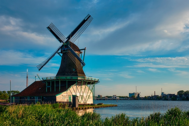 Windmills at zaanse schans in holland. zaandam, nether