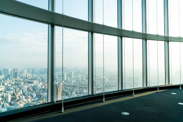 Window of building with tokyo tower background