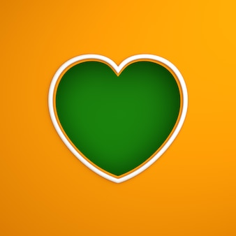 Оконная рама в форме сердца из бумаги вырезать фон с цветом флага индии