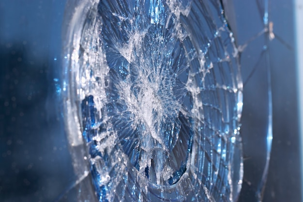 The window glass broken into small fragments
