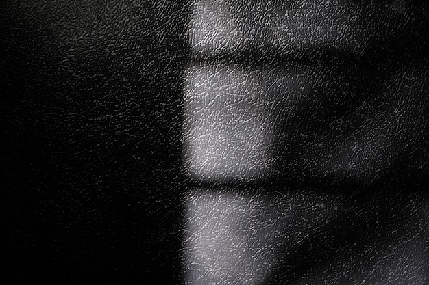 Window natural shadow on black leather texture background overlay effect for photo mock up product wall art design presentation