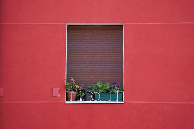 Window on the red facade of the house in the city