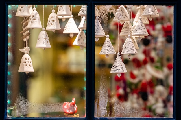 The window through which the visible christmas decorations.
