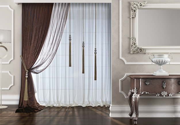 Window with curtain decoration
