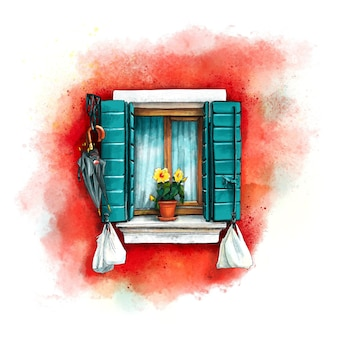 Окно с зелеными ставнями на красной стене домов на острове бурано, венеция, италия