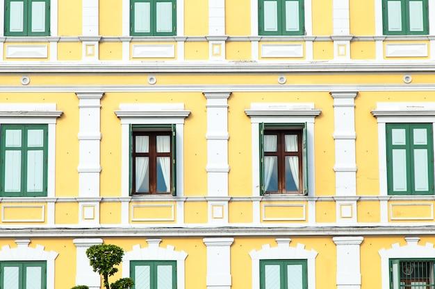 Window with light yellow walls.