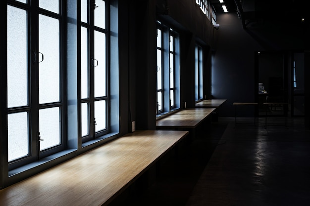Window with sunlight in classic vintage room building