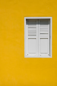 Window on yellow wall