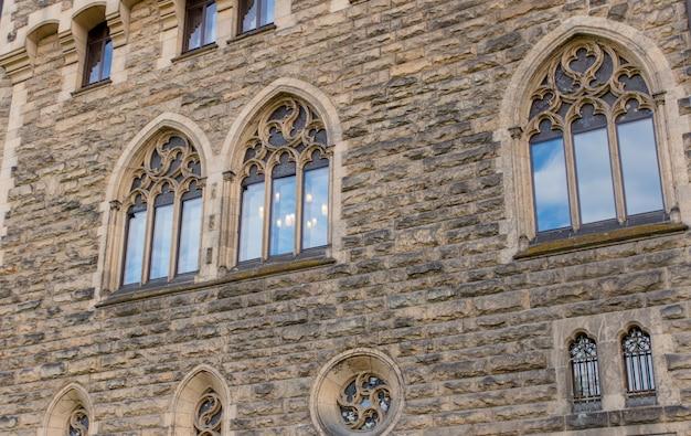 Windows in old castle in europe