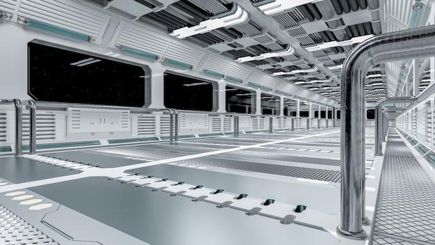 Космический корабль windows или научная лаборатория в космосе. коридор научной фантастики белого цвета, 3d визуализация.