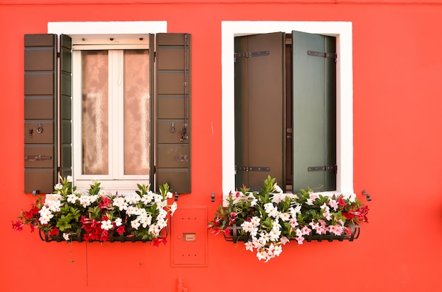 Windows with shutters on the island of burano venice italy