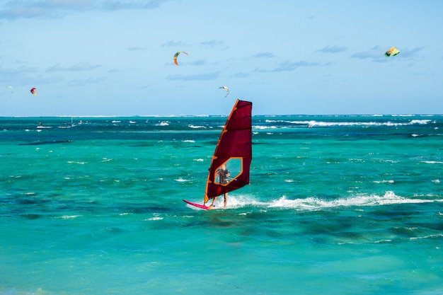 Windsurfers on the le morne beach in mauritius