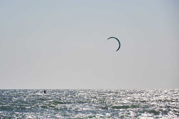 Windsurfing, fun in the ocean, extreme sport on sea