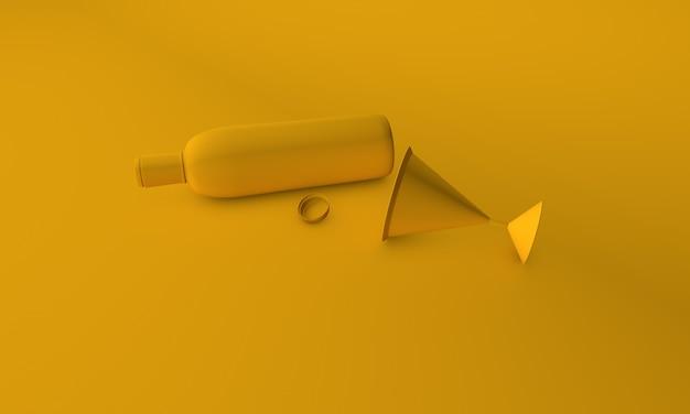 노란색 bg에 와인과 유리 3d 렌더링