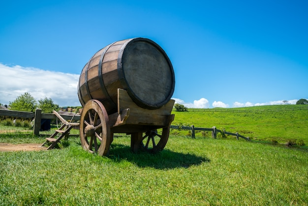 Wine barrel on cart against green grass field in countryside agriculture landscape background.
