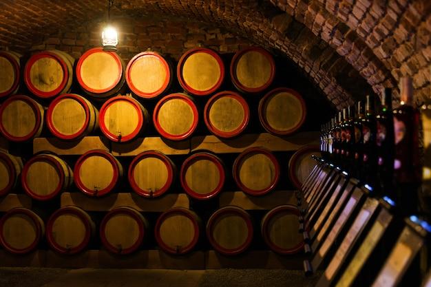 Wine barrels in the antique cellar