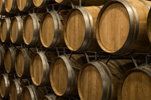 Wine barrels in wine cellar